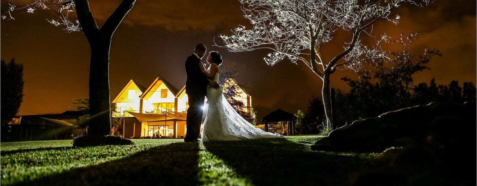 Hudsons Venue Weddings at night in the garden